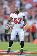 Tampa Bay Buccaneers linebacker Dom DeCicco (57) during a preseason NFL game at Raymond James Stadium on Aug. 8, 2013 in Tampa, Florida. <br /> <br /> ©2013 Scott A. Miller