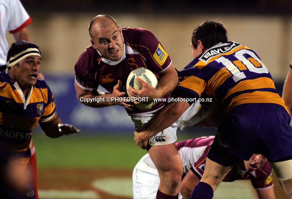 Southland's Jason Rutledge is tackled. Air New Zealand Cup Quarter Final. Bay Park. Mount Maunganui. Bay of Plenty v Southland, Saturday, 11 October 2008. Photo: John Cowpland/PHOTOSPORT
