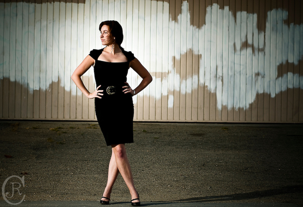 Lauren models for an environmental portrait on Ventura Avenue, in Ventura, California