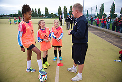 CARDIFF, WALES - Tuesday, August 21, 2014: Girls take part in the first Live Your Goals festival in Cardiff. (Pic by David Rawcliffe/Propaganda)