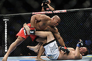 "NEWARK, NEW JERSEY, MARCH 27, 2010: Rodney Wallace (top) and Jared Hamman are pictured during their bout at ""UFC 111: St. Pierre vs. Hardy"" in the Prudential Center, New Jersey on March 27, 2010"