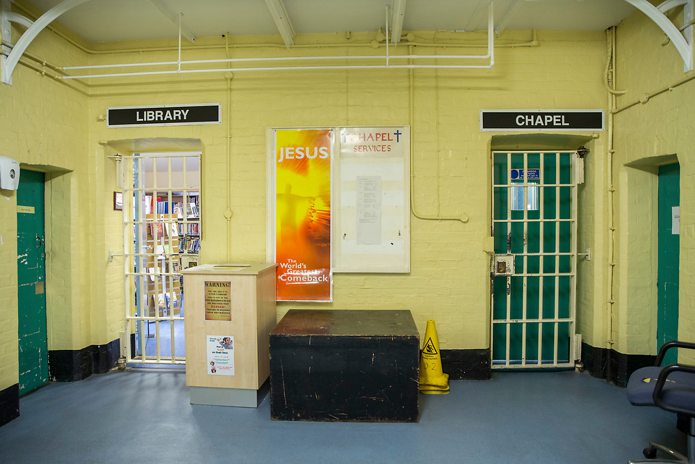 The doors to the prison library and the Chapel inside HMP Winchester. HMP YOI Winchester was built in 1846 and is typical of the Victorian prison, radial design. It is currently a Category B Local prison that serves the local courts, has an operational capacity of 690 and is able to take men from the age of 18 upwards.  HMP Winchester, Hampshire, United Kingdom. (All image use MUST be credited © prisonimage.org)