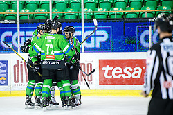 Players of Olimpija celebrate during ice-hockey match between HDD Tilia Olimpija and EC Red Bull Salzburg in EBEL league, on January 10, 2016 at Hala Tivoli, Ljubljana, Slovenia. Photo by Morgan Kristan / Sportida