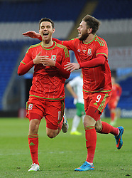 Tom O'Sullivan of Wales u21s (Cardiff City) celebrates his  second goal with Wes Burns of Wales u21s (Bristol City) - Photo mandatory by-line: Dougie Allward/JMP - Mobile: 07966 386802 - 31/03/2015 - SPORT - Football - Cardiff - Cardiff City Stadium - Wales v Bulgaria - U21s International Friendly