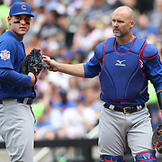 NEW YORK, NEW YORK - July 03: Anthony Rizzo #44 of the Chicago Cubs with catcher David Ross #3 of the Chicago Cubs during the Chicago Cubs Vs New York Mets regular season MLB game at Citi Field on July 03, 2016 in New York City. (Photo by Tim Clayton/Corbis via Getty Images)