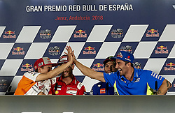 May 3, 2018 - Jerez De La Frontera, Cadiz, Spain - 93 Marc Marquez (Spanish) Repsol Honda Team and  #29 Andrea Iannone (Italian) Team Suzuki Ecstar in the press conference before of the Gran Premio Red Bull of Spain, Circuit of Jerez - Angel Nieto, Jerez de la Frontera, Spain. Thursday, 03rd May, 2018. (Credit Image: © Jose Breton/NurPhoto via ZUMA Press)