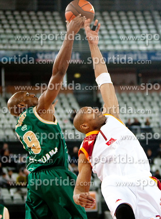 Kenny Gregory (9) of Olimpija vs Charles Smith (7) of Lottomatica during Euroleague Top 16 basketball match between Lottomatica Virtus Roma (ITA) and KK Union Olimpija Ljubljana (SLO) in Group F, on January 20, 2011 in Arena PalaLottomatica, Rome, Italy. (Photo By Vid Ponikvar / Sportida.com)