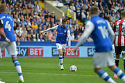 Sheffield Wednesday midfielder David Jones (3)  shots at goal during the EFL Sky Bet Championship match between Sheffield Wednesday and Sheffield Utd at Hillsborough, Sheffield, England on 24 September 2017. Photo by Adam Rivers.