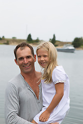father and his daughter at the beach in East Hampton, NY