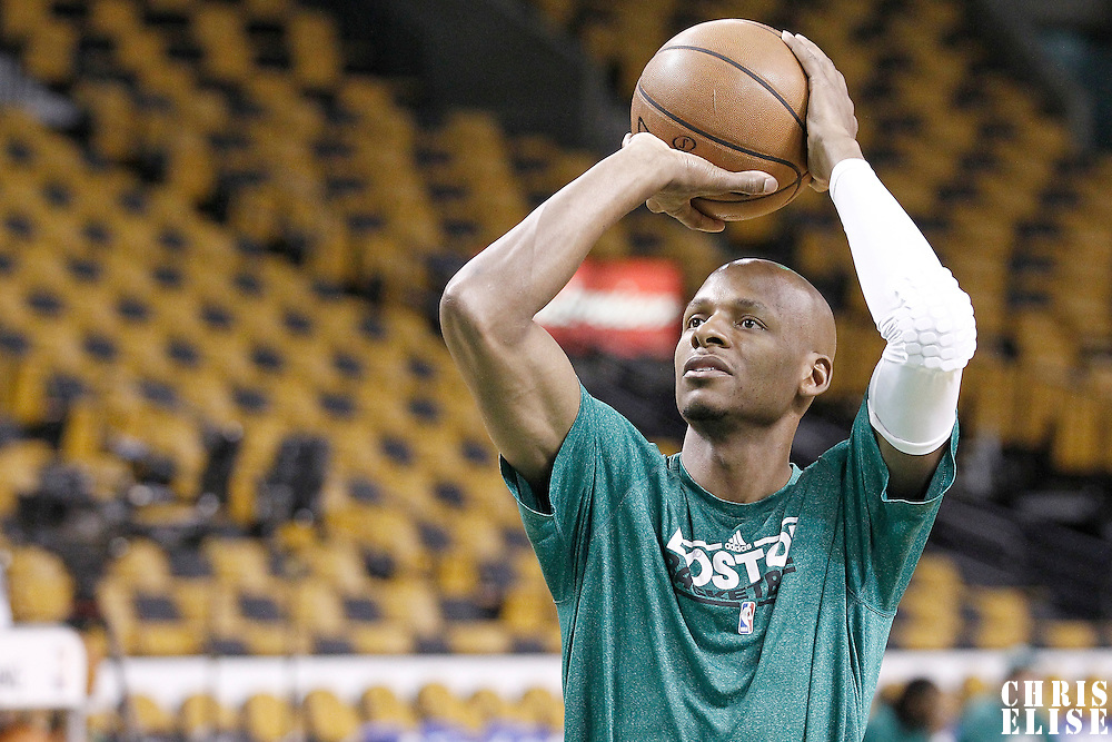 03 June 2012: Boston Celtics shooting guard Ray Allen (20) warms up prior to the Boston Celtics 93-91 overtime victory over the Miami Heat, in Game 4 of the Eastern Conference Finals playoff series, at the TD Banknorth Garden, Boston, Massachusetts, USA.
