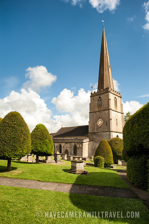 View of the Parish Church of St Mary in Painswick, Gloucestershire, in England's Cotswolds region.