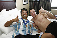 WORLD CUP U20 CHAMPION CELEBRATION <br /> ARGENTINA (ARG) its the new u20 Soccer football FIFA Champion, after beat 2-1 in the final match the  CZECH Republic (CZE) team in Toronto, Canada 22/07/07<br /> <br /> Here Argentine SERGIO AGUERO, the BEST PLAYER of the tournament arriving from the match to his hotel room at the Westing Castle hotel. Other player teammate SANCHEZ Matias<br /> EXCLUSIVE = EXCLUSIVE - EXCLUSIVE - <br /> © Gabriel Piko / PikoPress