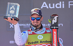 14.03.2019, Soldeu, AND, FIS Weltcup Ski Alpin, SuperG, Herren, Siegerehrung, im Bild Dominik Paris (ITA, erster Platz Super G Weltcup, zweiter Platz Abfahrts Welt Cup) // first place Super G World Cup and second place Downhill World Cup Dominik Paris of Italy during the winner ceremony for the day victory of men's Super-G of FIS Ski Alpine World Cup finals. Soldeu, Andorra on 2019/03/14. EXPA Pictures © 2019, PhotoCredit: EXPA/ Erich Spiess