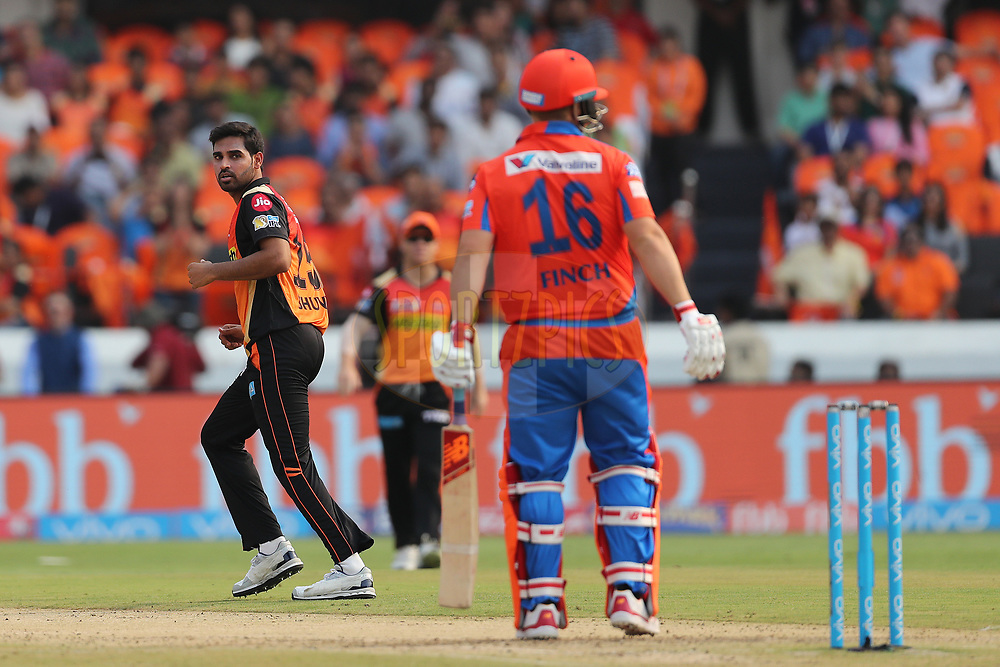 Bhuvneshwar Kumar of the Sunrisers Hyderabad reacts after a delivery during match 6 of the Vivo 2017 Indian Premier League between the Sunrisers Hyderabad and the Gujarat Lions held at the Rajiv Gandhi International Cricket Stadium in Hyderabad, India on the 9th April 2017<br /> <br /> Photo by Ron Gaunt - IPL - Sportzpics