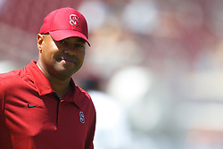 September 3, 2011; Stanford, CA, USA;  Stanford Cardinal head coach David Shaw watches his team warm up  before the game against the San Jose State Spartans at Stanford Stadium.  Stanford defeated San Jose State 57-3.