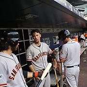 Brandon Crawford, (left) and Matt Duffy, (center), San Francisco Giants, preparing to bat during the New York Mets Vs San Francisco Giants MLB regular season baseball game at Citi Field, Queens, New York. USA. 11th June 2015. Photo Tim Clayton