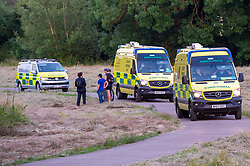 © Licensed to London News Pictures. 23/06/2020. Cookham, UK. Two incident response units and a Hazardous Area Response Team (HART) unit at the scene in Cookham. A search and rescue operation was launched Tuesday evening after reports that several people, believed to be refugees from Syria, got into difficulties, it is understood that one person was rescued and transferred to hospital and one person remained unaccounted for. Multiple emergency resources were deployed to the scene, close to Odney Common in Cookham, including lowland search and rescue teams. Photo credit: Peter Manning/LNP