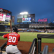NEW YORK, NEW YORK - July 09: Daniel Murphy #20 of the Washington Nationals preparing to bat during the Washington Nationals Vs New York Mets regular season MLB game at Citi Field on July 09, 2016 in New York City. (Photo by Tim Clayton/Corbis via Getty Images)