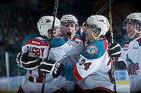 KELOWNA, CANADA - DECEMBER 30:  Cole Linaker #26 of the Kelowna Rockets celebrates the first goal of his WHL career against the Everett Silvertips at the Kelowna Rockets on December 30, 2012 at Prospera Place in Kelowna, British Columbia, Canada (Photo by Marissa Baecker/Shoot the Breeze) *** Local Caption ***