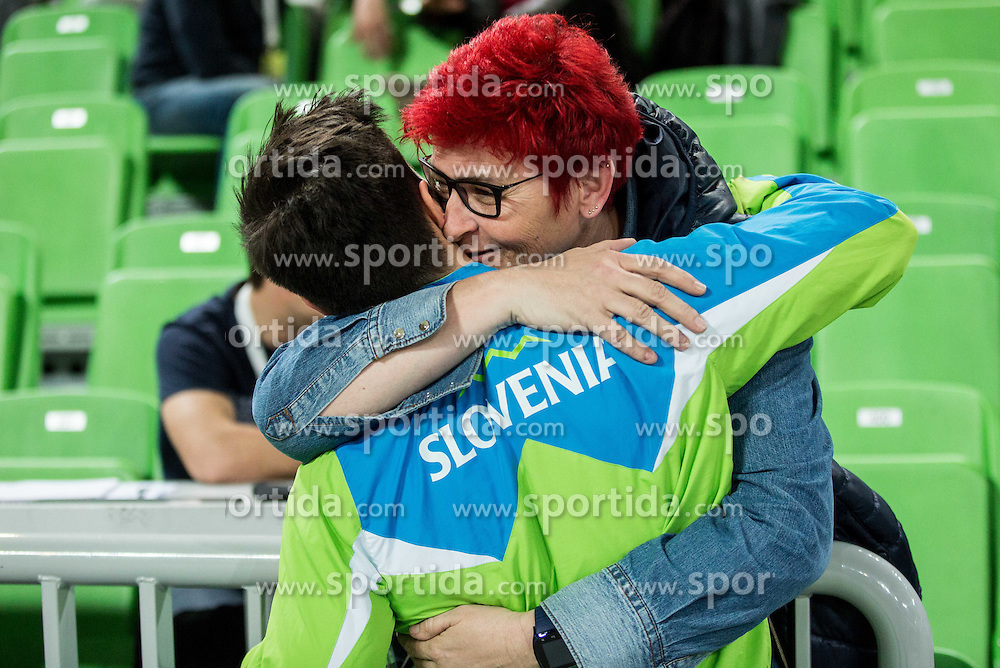 Rok Klavora of Slovenia with his fan during Qualifications of Artistic Gymnastics World Cup Ljubljana, on April 8, 2016 in Arena Stozice, Ljubljana, Slovenia. Photo by Vid Ponikvar / Sportida