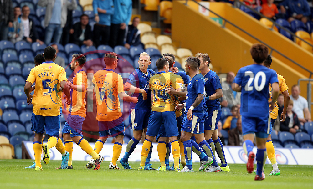 The Mansfield Town and Leicester City players scuffle - Mandatory by-line: Robbie Stephenson/JMP - 25/07/2015 - SPORT - FOOTBALL - Mansfield,England - Field Mill - Mansfield Town v Leicester City - Pre-Season Friendly