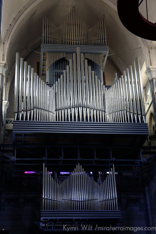Europe, France, Lille. Lille Cathedral Organ Pipes.