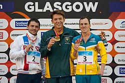 PAUL Kevin, POLtAVTSEV Pavel, PENDLETON Rick RUS, RSA, AUS at 2015 IPC Swimming World Championships -  Men's 100m Breaststroke SB9