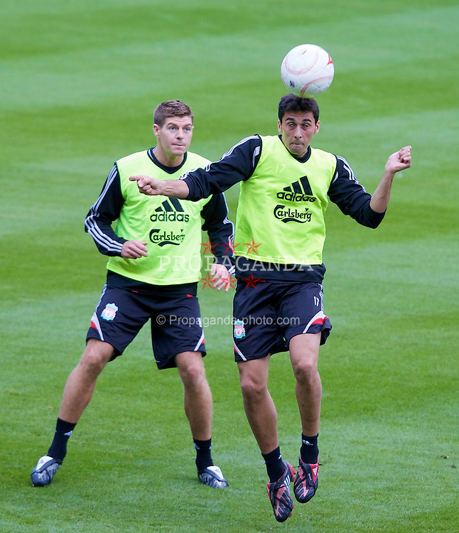 LIEGE, BELGIUM - Tuesday, August 12, 2008: Liverpool's Alvaro Arbeloa and captain Steven Gerrard MBE during a training session ahead of the UEFA Champions League 3rd Qualifying Round match against Royal Standard de Lie?ge at the Stade Maurice Dufrasne. (Photo by David Rawcliffe/Propaganda)