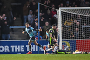 Wycombe Wanderers Forward Paris Cowan-Hall (12) celebrates scoring (3-3) during the EFL Sky Bet League 2 match between Wycombe Wanderers and Carlisle United at Adams Park, High Wycombe, England on 3 February 2018. Picture by Stephen Wright.
