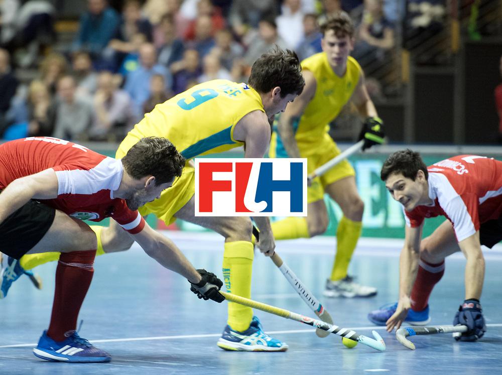 BERLIN - Indoor Hockey World Cup<br /> SF2 Australia - Austria<br /> foto: James Knee <br /> WORLDSPORTPICS COPYRIGHT FRANK UIJLENBROEK