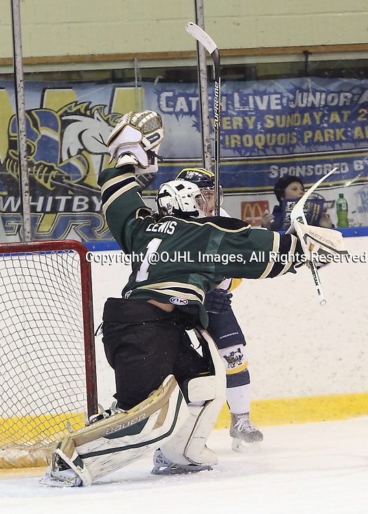 WHITBY, ON - Mar 1, 2015 : Ontario Junior Hockey League game action between the Whitby Fury and the Cobourg Cougars. Game two of the best of seven series. Tyler Lewis #1 of the Cobourg Cougars and Ryan Kirkup #11 of the Whitby Fury collide in the first period.<br /> (Photo by Tim Bates / OJHL Images)