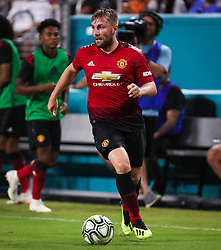 July 31, 2018 - Miami Gardens, Florida, USA - Manchester United F.C. defender Luke Shaw (23) in action during an International Champions Cup match between Real Madrid C.F. and Manchester United F.C. at the Hard Rock Stadium in Miami Gardens, Florida. Manchester United F.C. won the game 2-1. (Credit Image: © Mario Houben via ZUMA Wire)