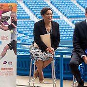 June 9, 2015, New Haven, CT:<br /> New Haven Mayor Toni Harp and Connecticut Governor Dannel P. Malloy attend a press conference at the Connecticut Tennis Center to announce the new Connecticut Open 50/50 Project and the renewal of United Technologies sponsorship of the tournament through the 2017 in New Haven, Connecticut Tuesday, June 9, 2015.<br /> (Photos by Billie Weiss/Connecticut Open)