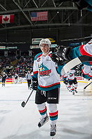 KELOWNA, CANADA - MARCH 10: James Hilsendager #2 of the Kelowna Rockets celebrates a second period goal against the Vancouver Giants on March 10, 2017 at Prospera Place in Kelowna, British Columbia, Canada.  (Photo by Marissa Baecker/Shoot the Breeze)  *** Local Caption ***