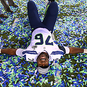 Seahawks player Russell Okung celebrates as the game ends during the Super Bowl on Sunday, February 2, 2014 at MetLife Stadium in New Jersey. The Seahawks dominated the Denver Broncos 43-8. (Joshua Trujillo, seattlepi.com)