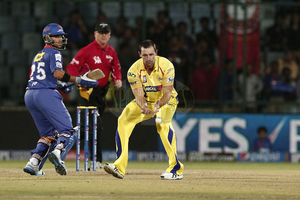 Ben Hilfenhaus of The Chennai Superkings during match 26 of the Pepsi Indian Premier League Season 2014 between the Delhi Daredevils and the Chennai Superkings held at the Ferozeshah Kotla cricket stadium, Delhi, India on the 5th May  2014<br /> <br /> Photo by Deepak Malik / IPL / SPORTZPICS<br /> <br /> <br /> <br /> Image use subject to terms and conditions which can be found here:  http://sportzpics.photoshelter.com/gallery/Pepsi-IPL-Image-terms-and-conditions/G00004VW1IVJ.gB0/C0000TScjhBM6ikg