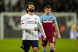 LONDON, ENGLAND - Wednesday, January 29, 2020: Liverpool's Mohamed Salah is all smiles at the final whistle after the FA Premier League match between West Ham United FC and Liverpool FC at the London Stadium. Liverpool won 2-0. (Pic by David Rawcliffe/Propaganda)