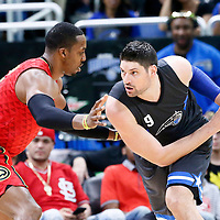 25 February 2017: Atlanta Hawks center Dwight Howard (8) defends on Orlando Magic center Nikola Vucevic (9) during the Orlando Magic 105-86 victory over the Atlanta Hawks, at the Amway Center, Orlando, Florida, USA.