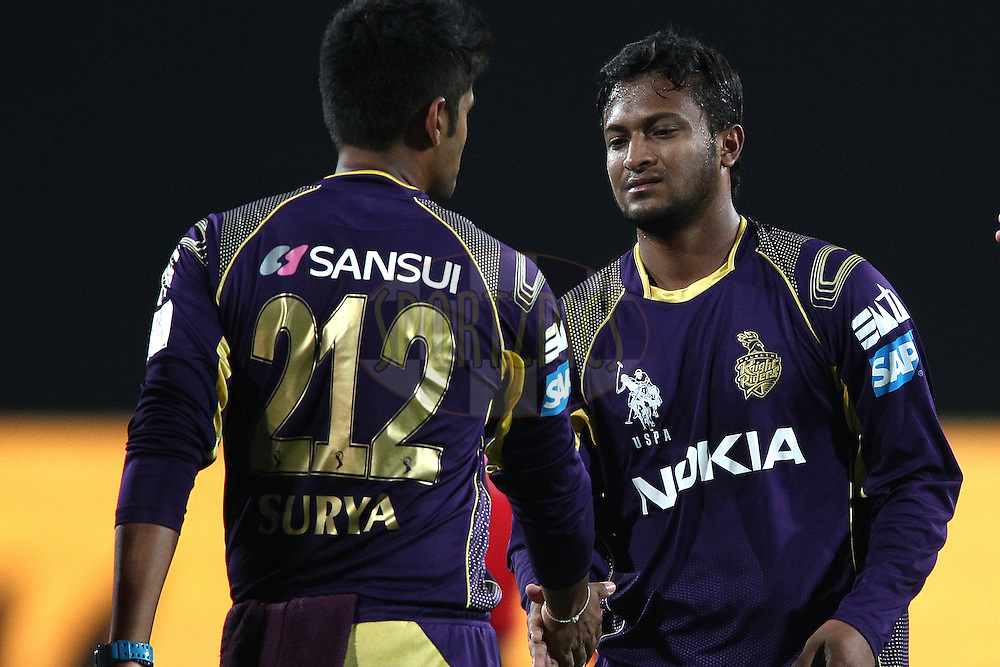 Suryakumar Yadav of the Kolkata Knight Riders and Shakib Al Hasan of the Kolkata Knight Riders celebrate Suresh Raina of The Chennai Super Kings wicket during match 21 of the Pepsi Indian Premier League Season 2014 between the Chennai Superkings and the Kolkata Knight Riders  held at the JSCA International Cricket Stadium, Ranch, India on the 2nd May  2014<br /> <br /> Photo by Shaun Roy / IPL / SPORTZPICS<br /> <br /> <br /> <br /> Image use subject to terms and conditions which can be found here:  http://sportzpics.photoshelter.com/gallery/Pepsi-IPL-Image-terms-and-conditions/G00004VW1IVJ.gB0/C0000TScjhBM6ikg