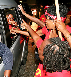 Mia Amor Mottley is now the Prime Minister-elect of Barbados, The Barbados Labour Party (BLP) leader and her team romped home to an unprecedented 30-nil victory at the polls last night, with a punishing defeat of the Democratic Labour Party (DLP). With the demolition, the long-serving MP will today write her name on history's page when she is sworn in as the first female Prime Minister, joining a prestigious regional list including the late Dame Eugenia Charles (Dominica), the late Janet Jagan (Guyana), Portia Simpson Miller (Jamaica) and Kamla Persad-Bissessar (Trinidad and Tobago). The BLP's poll party started just before midnight at its Roebuck Street, St Michael headquarters where thousands of supporters danced and sang throughout the wee hours of this morning, forcing police to block off the street to vehicular traffic. 25 May 2018 Pictured: Barbados Prime Minister. Photo credit: Tonia Atwell/246paps/MEGA TheMegaAgency.com +1 888 505 6342