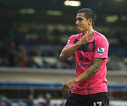 BIRMINGHAM, ENGLAND - Saturday, October 2, 2010: Everton's Tim Cahill celebrates scoring the second goal against Birmingham City in the last minute of injury time during the Premiership match at St Andrews. (Photo by David Rawcliffe/Propaganda)