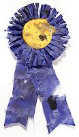 Beat up award ribbon on white background