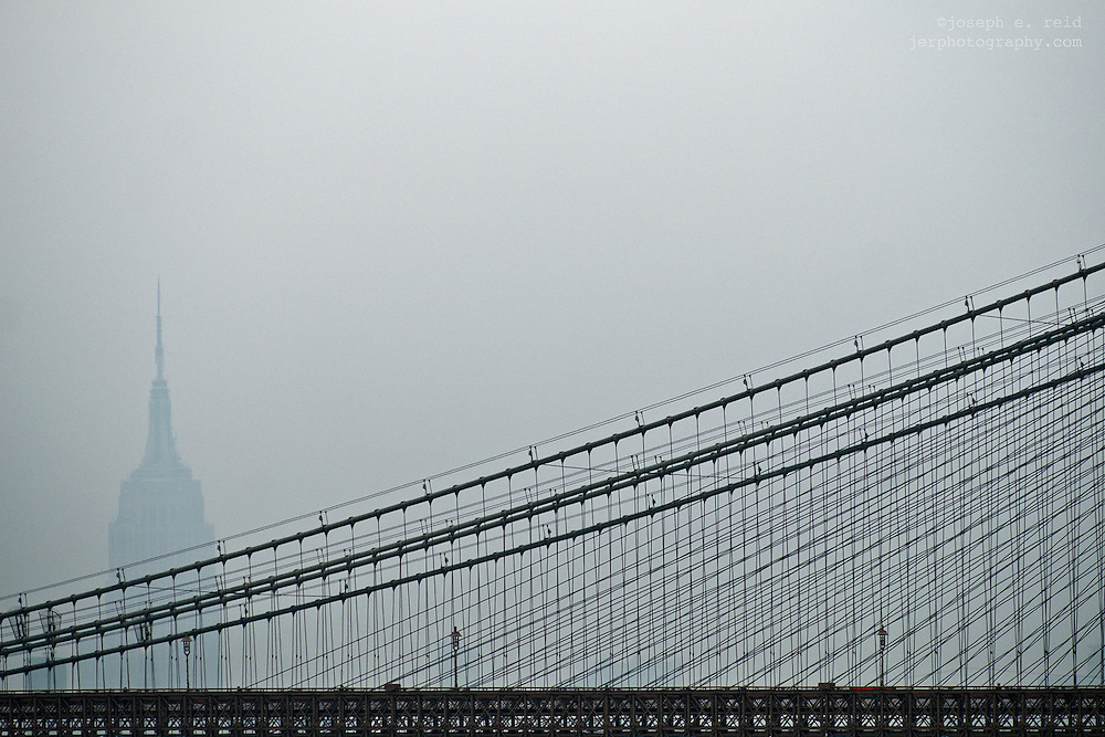 Brooklyn Bridge & Empire State Building in fog