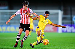 Zain Walker of Bristol Rovers is challenged by Will Dean of Exeter City - Mandatory by-line: Ryan Hiscott/JMP - 13/11/2018 - FOOTBALL - St James Park - Exeter, England - Exeter City v Bristol Rovers - Checkatrade Trophy