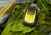 Signs of recovery in Miyagi Prefecture, Japan on 01 Dec., 2011. .Photographer: Robert GilhoolyPhoto shows the geigacounter used in the first stage of the radiation testing system employed by  Butai Farm in Sendai, Japan on December 01, 2011.  The company was established as Butai Farm in 2003 with the idea of developing a company that would work on the whole farming process -- from production to processing, distribution, and sales. The March 11 tsunami flooded about 60% of the company's 40-hectare farmland. While working toward the reconstruction of the land, they have also introduced a three-tier radiation testing system in an attempt to recover consumer confidence..Photographer: Robert Gilhooly