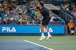 August 17, 2018 - Mason, OH, U.S. - CINCINNATI, OH - AUGUST 17:   Roger Federer of Sweden serves to Stan Wawrinka of Switzerland during Day 6 of the Western and Southern Open at the Lindner Family Tennis Center on August 17, 2018 in Mason, Ohio. (Photo by Shelley Lipton/Icon Sportswire) (Credit Image: © Shelley Lipton/Icon SMI via ZUMA Press)