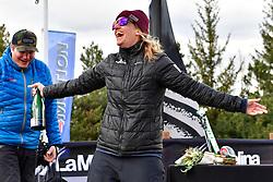 Coaches' Race Podium, Banked Slalom at the WPSB_2019 Para Snowboard World Cup, La Molina, Spain