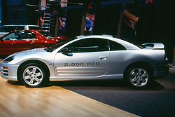 2,000,000th Mitsubishi Eclipse on display at the Chicago Auto Show, February 2001...This image was electronically scanned from a 35mm transparency.  It may show spots, noise, scratches and other artifacts from that scan.