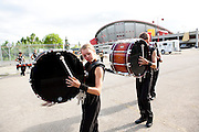 The Oregon Marching Band competes at the Calgary Saddledome in Alberta, Canada on July 12, 2011.