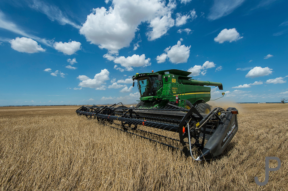 Wheat harvest story for Oklahoma Today. John and Martha Barrett farm near Martha, Oklahoma during wheat harvest.